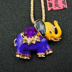 Betsey Johnson Purple Crystal Elephant Necklace